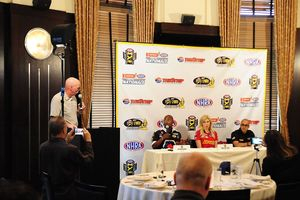 NHRA drivers (from l to r) Antron Brown, Courtney Force and J.R. Todd spoke to media at the DENSO Spark Plugs NHRA Nationals press conference on Thursday.
