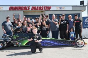 Mason Phlegar of Las Vegas won the 6-9 age bracket at the NHRA Summit Junior Drag Racing Series at Irwindale (Calif.) Dragstrip on Feb. 17.