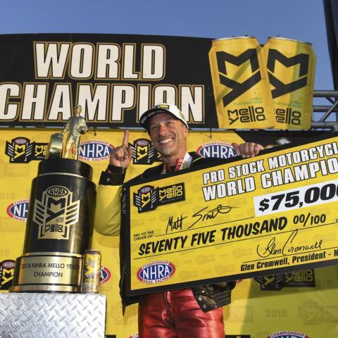 Matt Smith won his third career NHRA Pro Stock Motorcycle world title last year.
