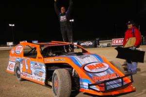 Rob Sanders won the IMCA Modifieds feature at the FVP Outlaw Showdown at the LVMS Dirt Track on Thursday night.